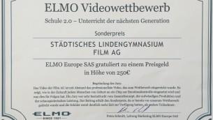 Beim diesjährigen ELMO-Videowettbewerb konnte die Film AG den Sonderpreis der Jury gewinnen.