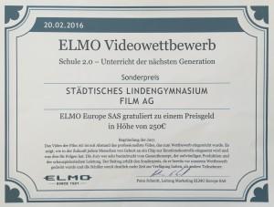 Urkunde ELMO Videowettbewerb